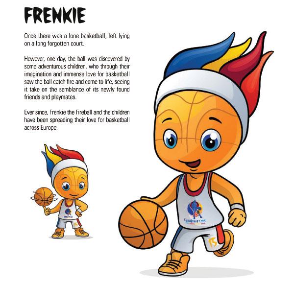 En esta imagen podemos ver a Frenkie, la Mascota del EuroBasket 2015, en sus 2 versiones Publicadas hasta el momento